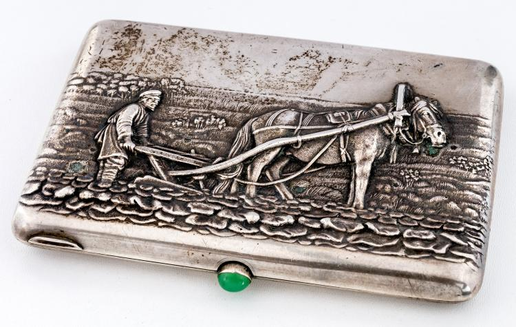 Cigarette-case with ploughing farmer