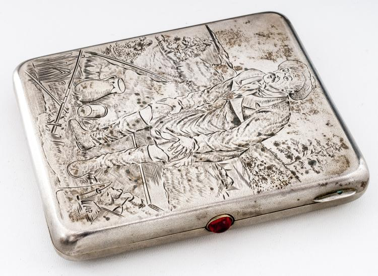 Cigarette-case with fisherman