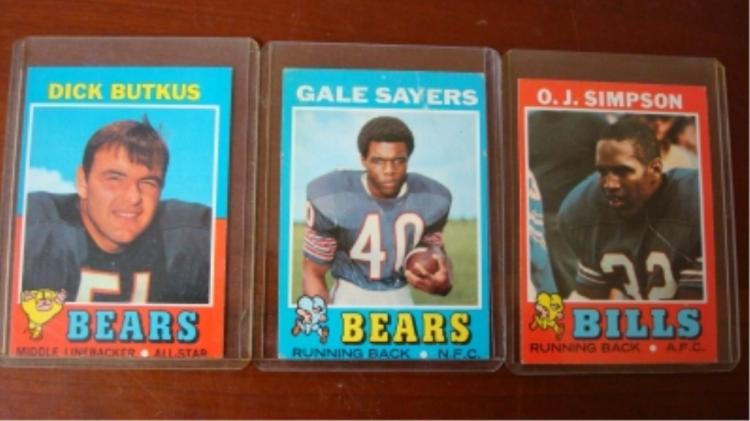 1971 TOPPS Football Cards OJ, Sayer,s Butkus
