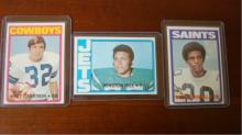1972 TOPPS (3) Football Cards High # 301, 321, 295