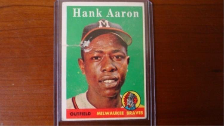 1958 TOPPS Hank Aaron Card Bad Tear/Missing Paper