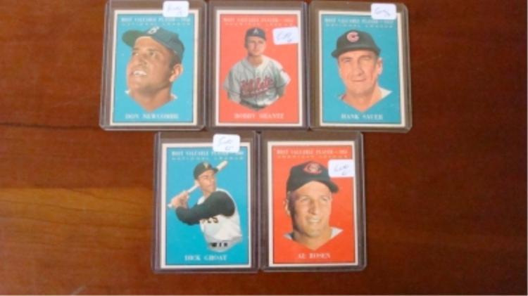 1961 TOPPS (5) MVP Baseball Cards EX