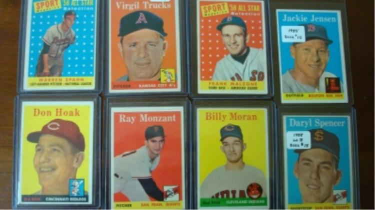 1958 TOPPS (8) Cards w Spahn All Star Card EX
