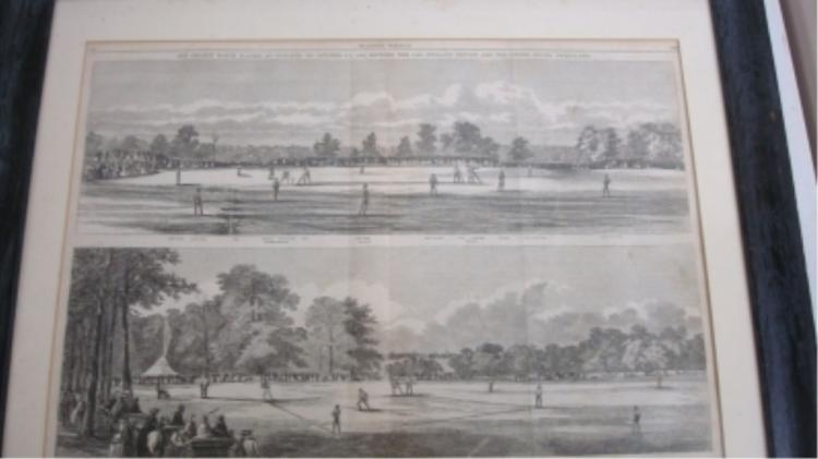 1859 Harper's Weekly Framed Baseball & Cricket