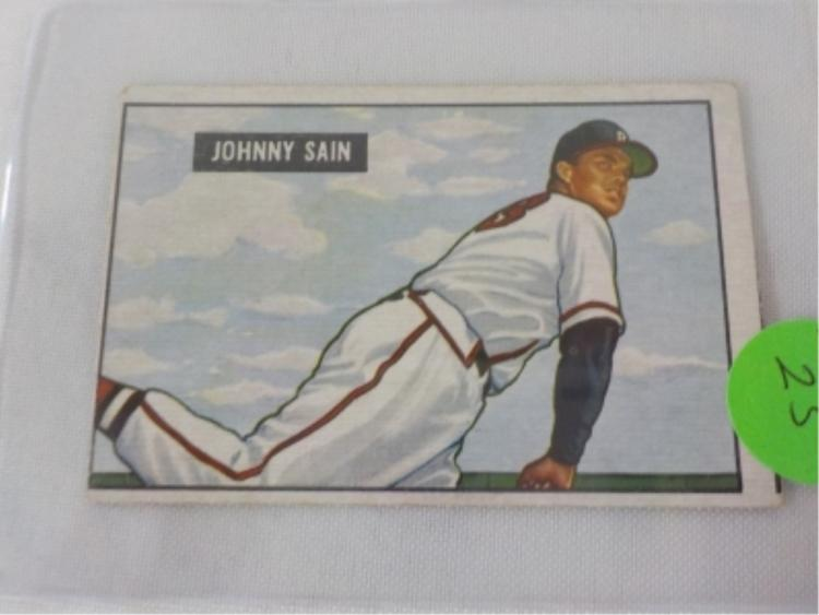 1951 Bowman High #314 Johnny Sain Card
