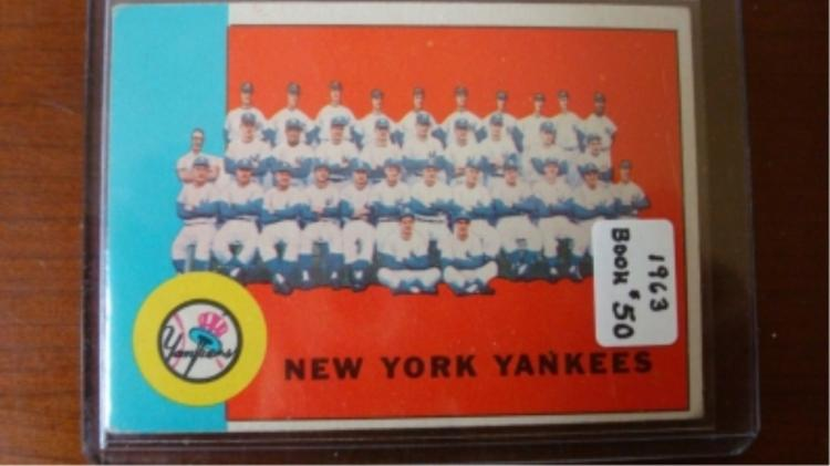 1963 Yankee's Team Card VG-Ex Corner Wear