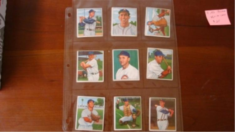1950 Bowman (9) Baseball Cards VG+