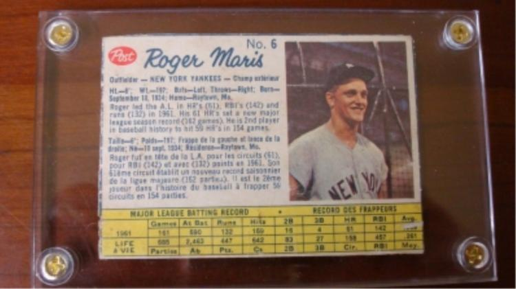 1962 Post Cereal Canadians Roger Maris Card EX