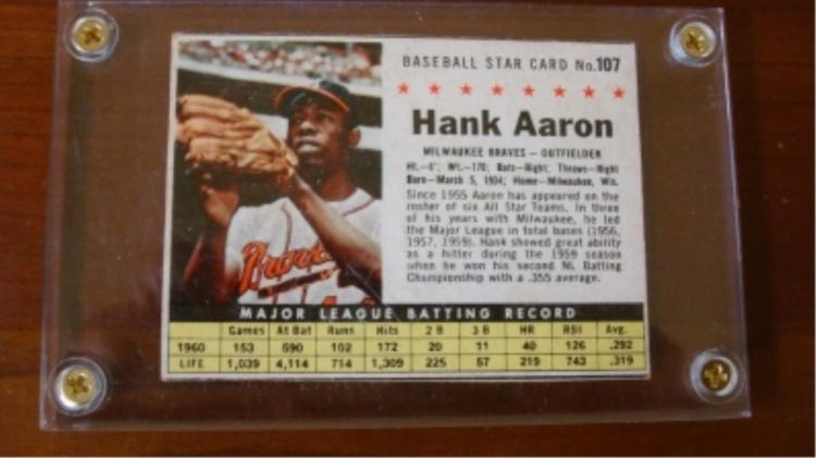 1961 Post Hank Aaron Card Near Mint
