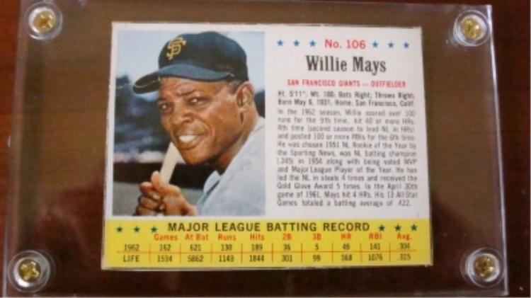 1963 Jello Willie Mays Card Near-Mint or Better