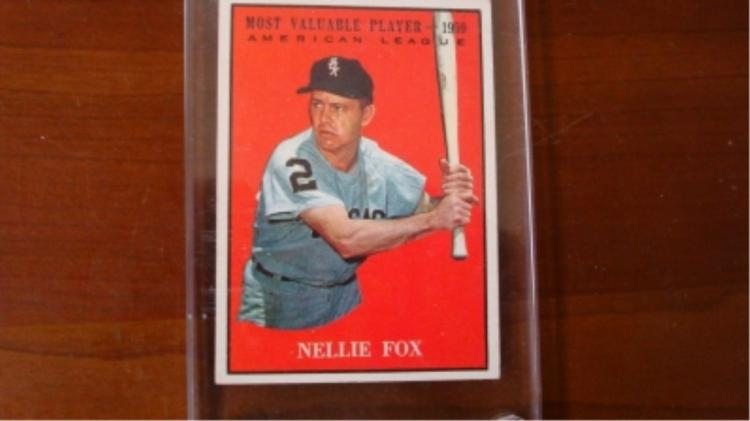 1961 TOPPs Nellie Fox MVP Card EX Mint / N Mint