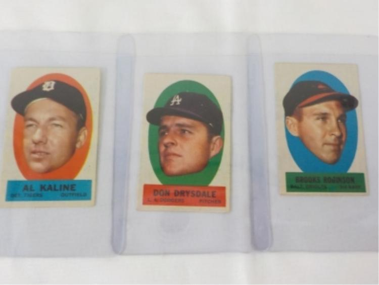 1963 TOPPS (3) Peel Off Cards Drysdale, Kaline