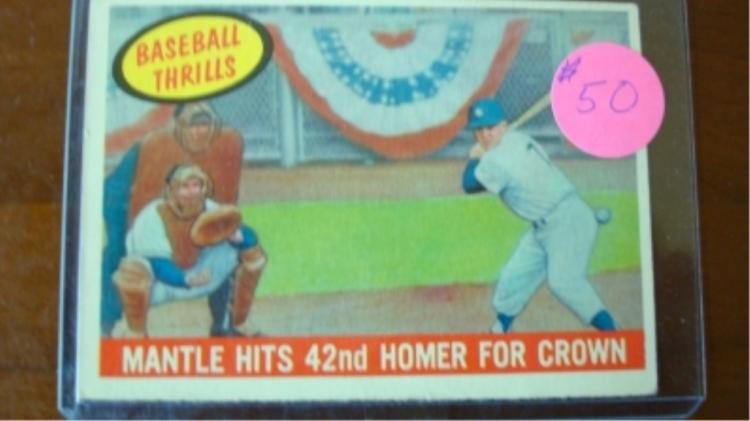 1959 TOPPS Mickey Mantle Hits 42nd Homer Card