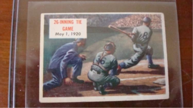 c 1953 Scoops #154 26 Inning Tie Game Card