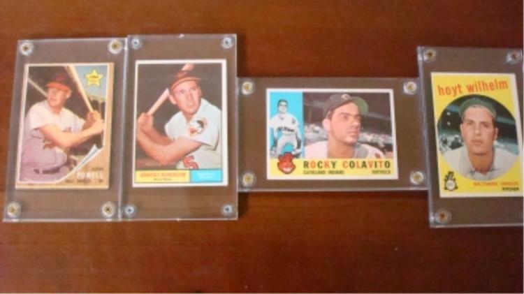 1959-1962 TOPPS (4) Baseball Cards