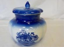 Staffordshire England Whitestoneware Biscuit Jar