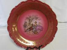 Germany Large Red Hand Painted Decorative Plate