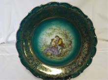 Germany Large Green Hand Painted Decorative Plate