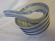 4 China Rice or Soup Bowls with Spoons