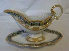 Nippon Hand Painted Gravy Boat & Tray