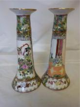 2 Unmarked Asian Hand Painted Candle Sticks 10