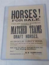 Horses For Sale Poster 1887 Stephentown NY