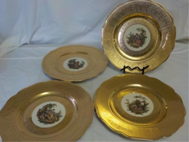 4 Different Royal China 22k Gold Decorative Plates
