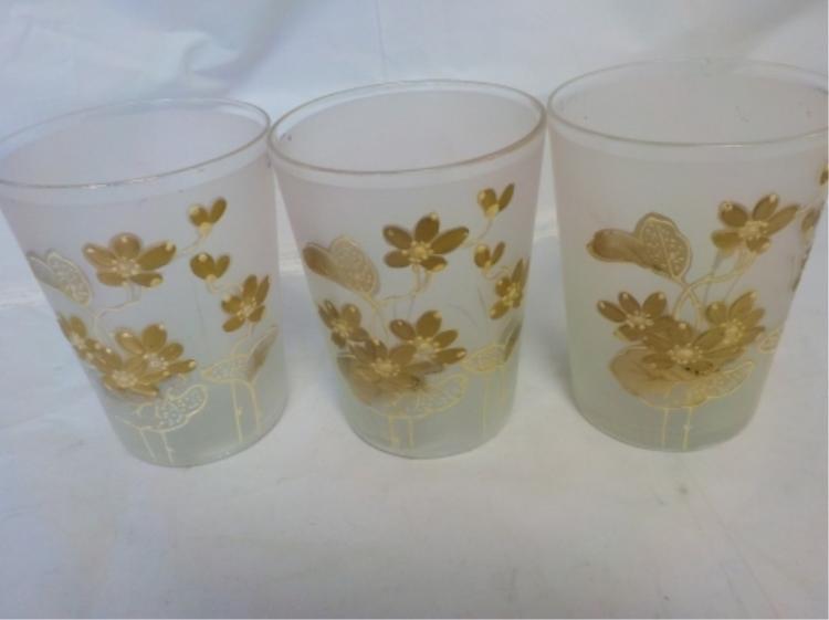 3 Antique Lemonade Glasses Gold & White