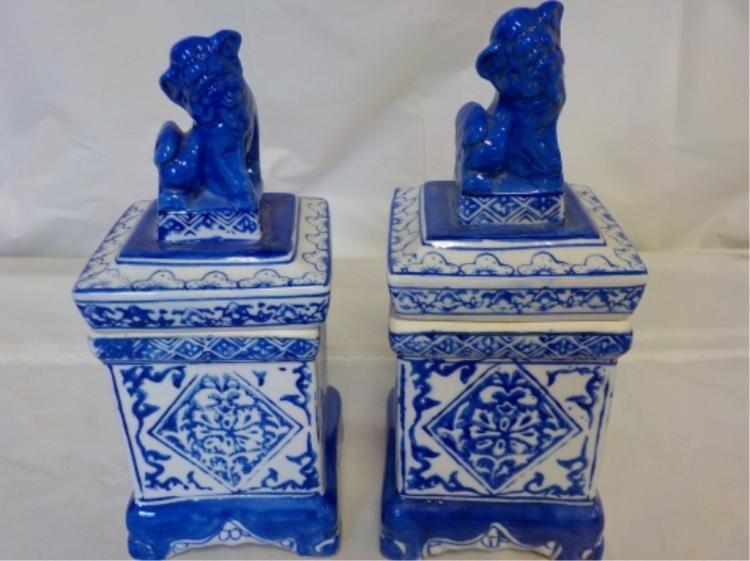 2 Blue & White Square Asian Jars Lion Lids