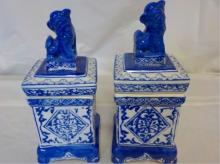 2 Blue & White Square Asian Jars Lion Lids