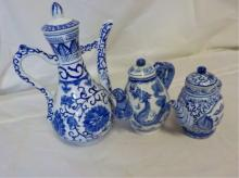 3 Asian Tea Pots Blue and White Designs