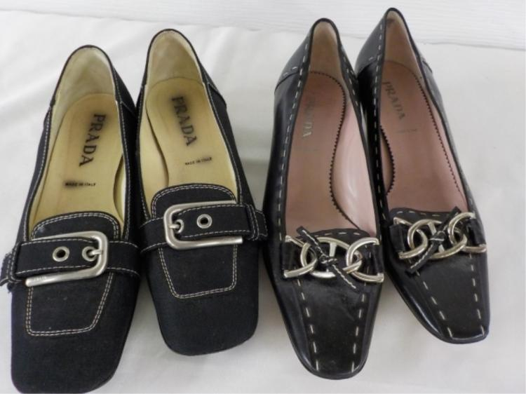 2 Pr PRADA Shoes Black Leather & Canvas 37 - Worn