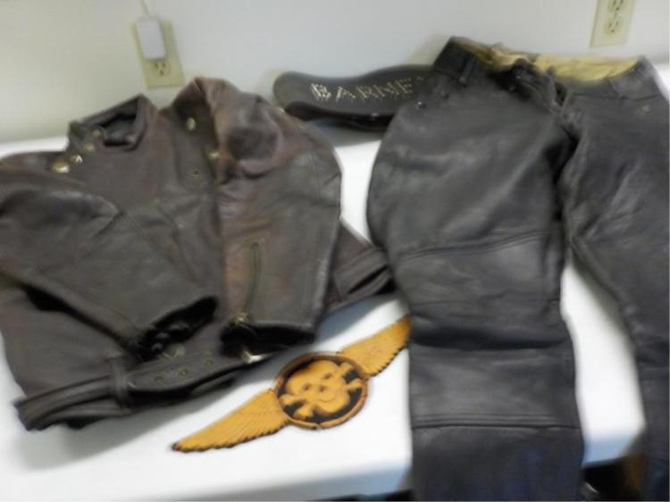 Early 1930's Leather Motorcycle Jacket Pants