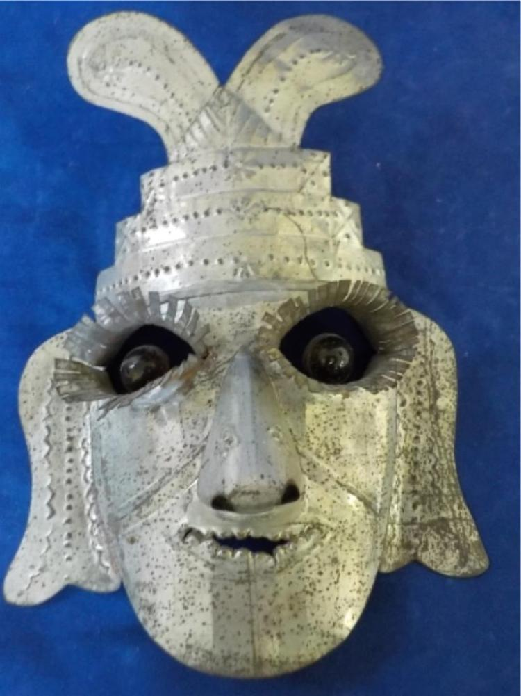 1957 Mexico Tin Mask with Amber Marble Eyes