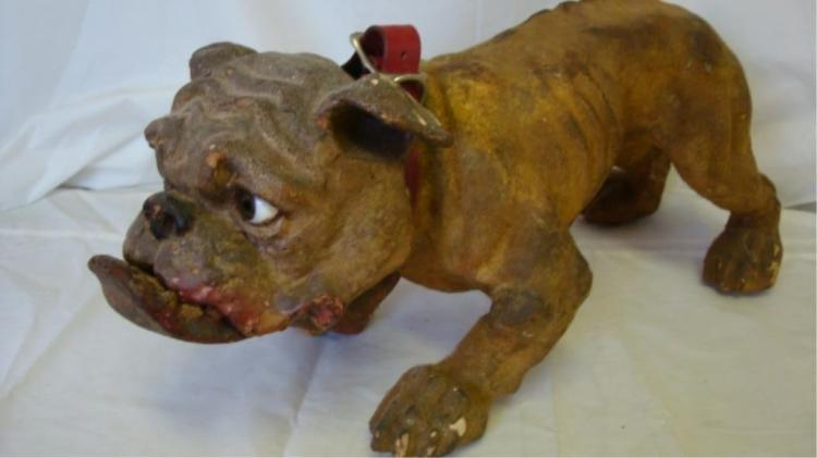 English Growling/Barking Bull Dog Pull Toy 1890's