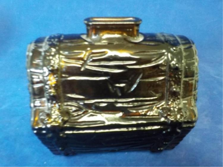 Dark Amber TREASURE CHEST Glass Coin Bank