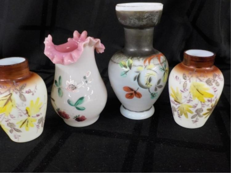 2 Hand Blown Small Vases & 2 Unmarked Vases