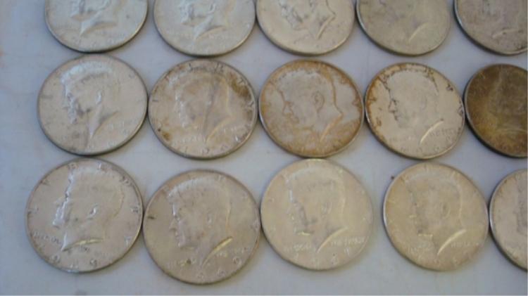 20 Kennedy Half Dollars 40% Silver $10.00 Face