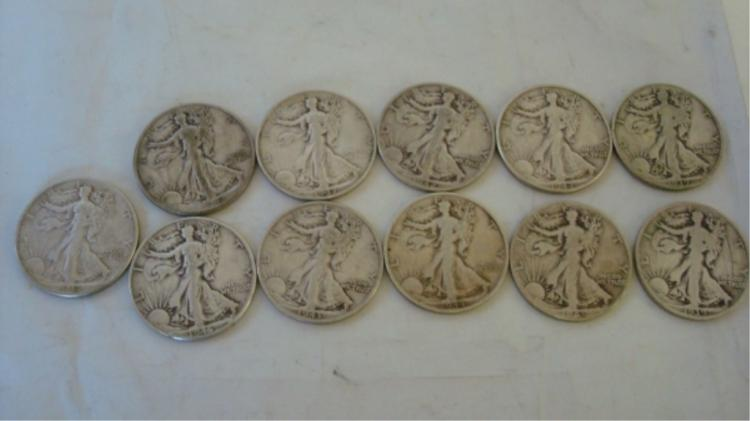 11 Walking Liberty Half Dollars