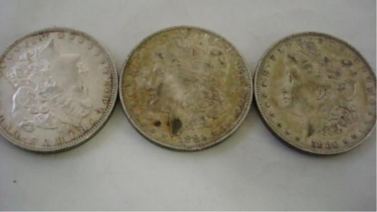 3 Morgan Silver Dollars 1879-O, 1881-O, 1880
