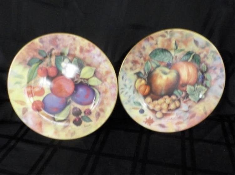 2 de Limoges 10 inch Fruit Design Plates
