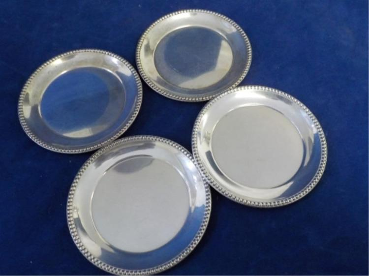 4 Sterling Silver Small Round Plates 4.415 ozt