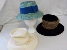3 1950's Laddies Wide Brim Hats 1 Joseph Magnin