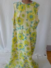 Vintage Yellow, Blue, Green Flowered Gown