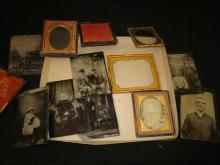 8 Tin Types 2 Brass Liners 1 Ambro 1 Case