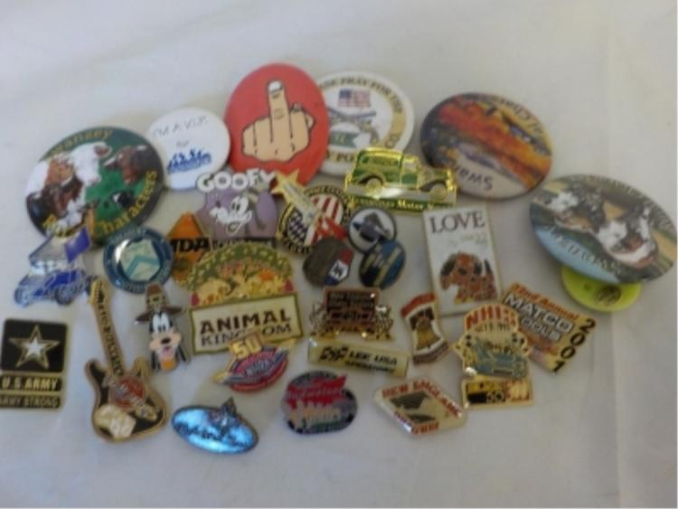 ~30 Pin Backs Animals, Goofey, Hard Rock