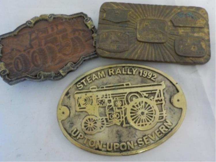3 John Deere Belt Buckles Leather, Metal