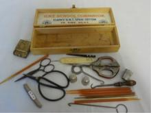 Clark's Spool Box with Sewing Accessories