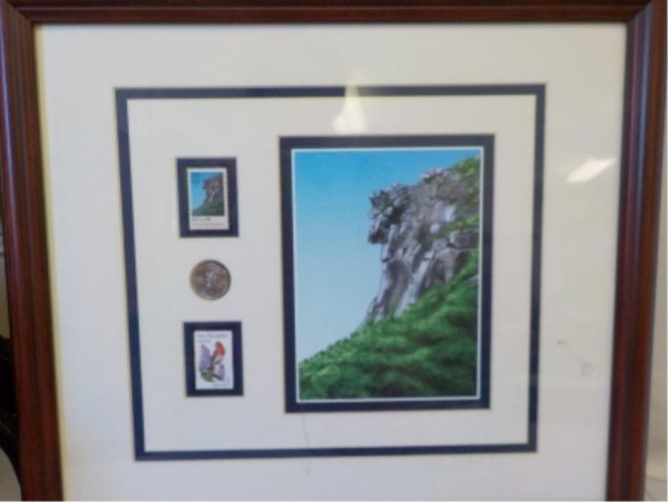 US Postal Issue 'Old Man of the Mountain' Framed