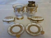 Vintage French 6 piece White & Gold Smoking Set